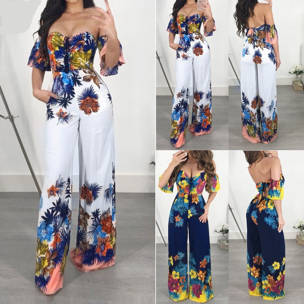 Off Shoulder Printed Jumpsuit