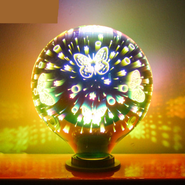 Edison LED Bulb E27 Colorful 3D Decorative bulbs A60 G95 G125 4W Snowflake Butterfly Starry sky Fireworks Effect Dream leds lamp