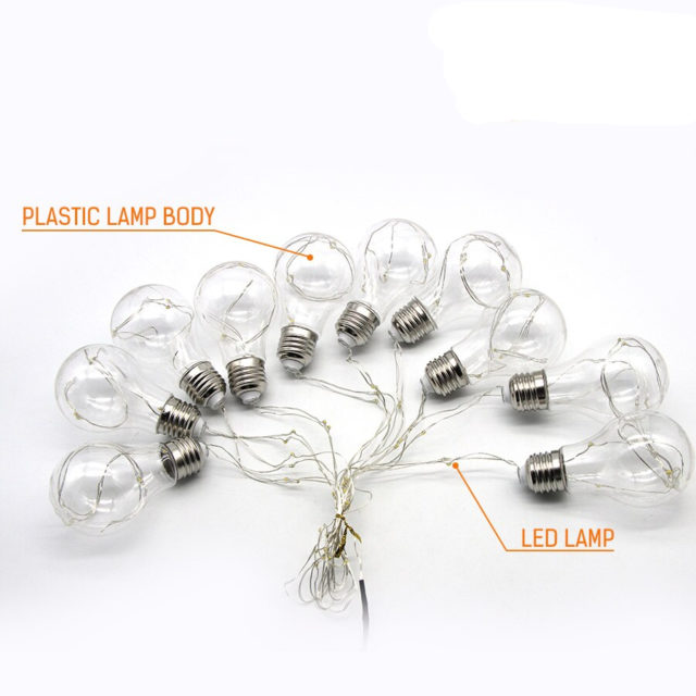 A60 LED String Bulb AC85-265V 3W Waterproof String Light Copper Wire Lamp Party Birthday Bedroom Wedding Decoration Lamps