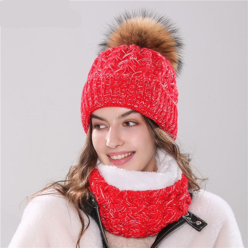 Xthree new women's hat winter beanie knitted hat scarf set  Bonnet girl 's hat with fur pom pom female cap