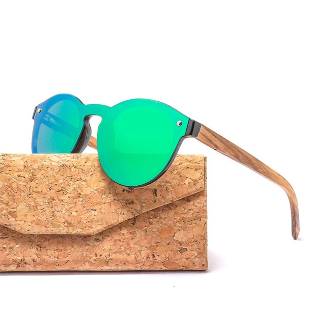 Rimless Round Wood Sun Shades