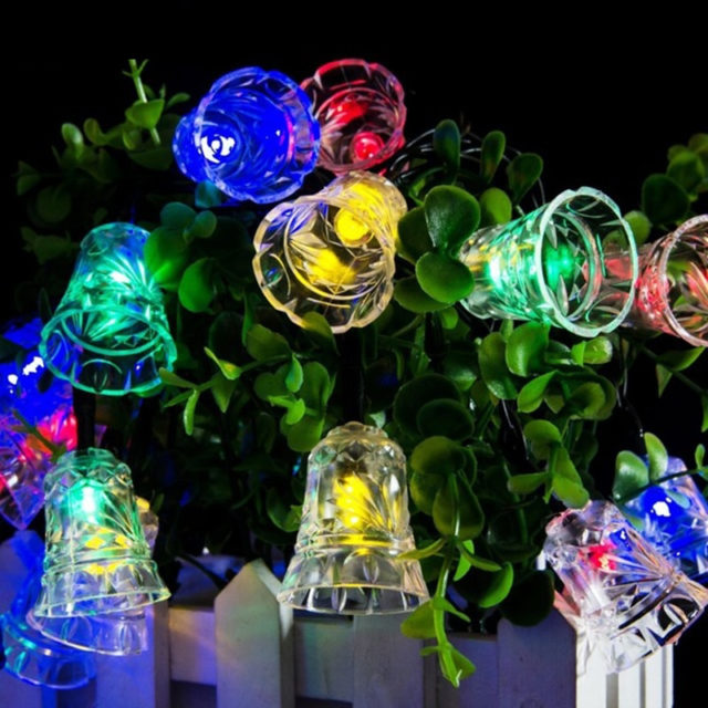 Lumiparty LED Bell Garland Solar Fairy String Lights Solar Christmas Lights Outdoor Fairy Lights For Christmas Party Decoration